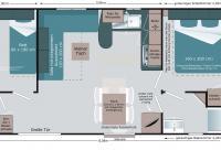Der Grundriss unserer Mobilheime für bis zu 6 Personen...